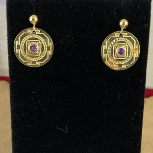 Vintage 14 Karat Gold  with Purple CZ's Earrings
